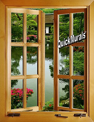 Japanese Garden Window 1-Piece Peel and Stick Canvas Wall Mural
