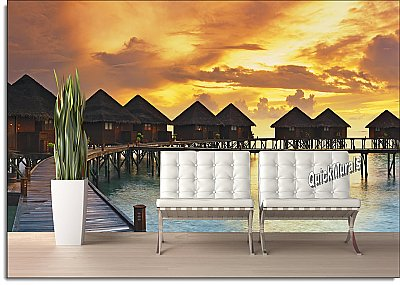 Beach Resort Sunset Peel and Stick Wall Mural