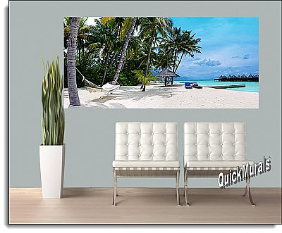 Tropical Island Resort One-piece Peel & Stick Canvas Wall Mural Roomsetting