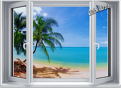Tropical Beach Window #1 One-Piece Canvas Peel and Stick Wall Mural