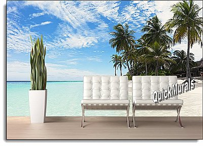 Waikiki Beach Peel & Stick Canvas Wall Mural Roomsetting