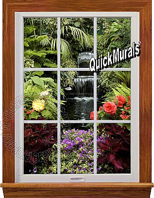 Garden Waterfall Window 1-Piece Peel & Stick Canvas Wall Mural