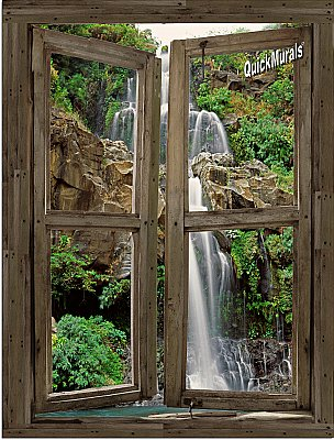 Waterfall Cabin Window Mural #4 One-piece Peel and Stick Canvas Wall Mural