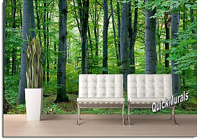 Woodland Forest Peel & Stick Canvas Wall Mural roomsetting