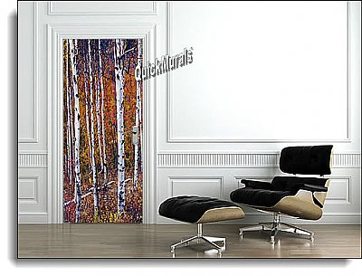Autumn Birch Door Mural roomsetting