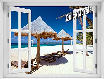 Beach Chairs Window Mural