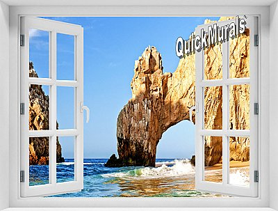 Cabo San Lucas Window 1-Piece Peel and Stick Mural