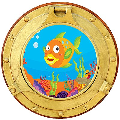 Cartoon Porthole #2 Peel and StickCanvas Wall Mural
