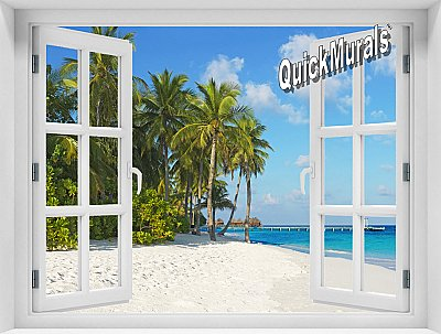 Island Vacation Window Mural