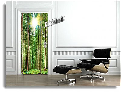 Sunlit Forest Canvas Door Mural roomsetting
