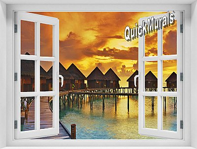 Sunset Resort Window Mural