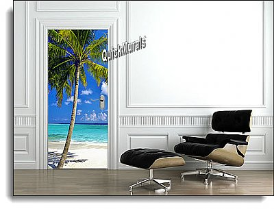 Tropical Palm Canvas Door Mural DT156 roomsetting