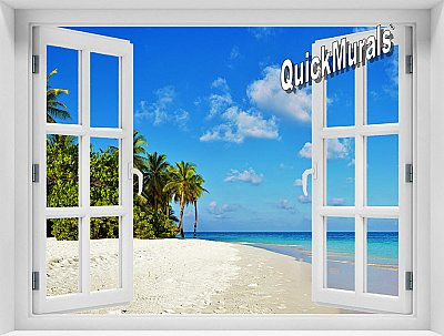 Tropical Escape Window Mural