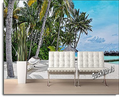Tropical Island Resort Peel & Stick Canvas Wall Mural Roomsetting