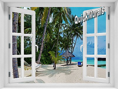Tropical Resort Window Mural