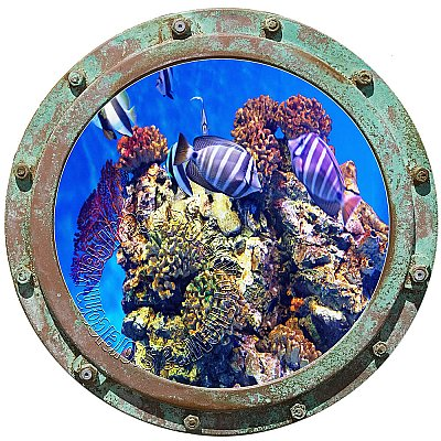 Undersea Porthole #3 Peel and Stick Canvas Wall Mural