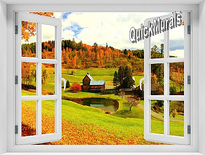 Vermont Farmhouse Window Mural