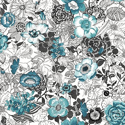Penny Blue Floral Wallpaper