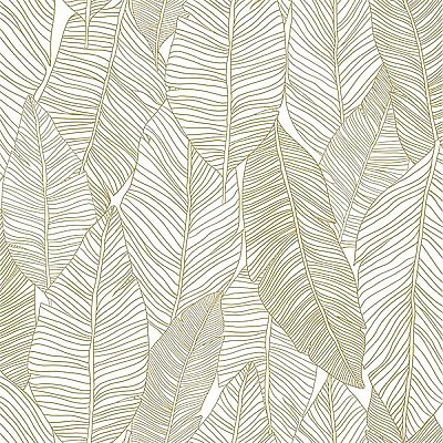 Canales White Gold Inked Leaves Wallpaper