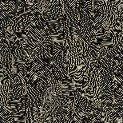 Canales Black Gold Inked Leaves Wallpaper