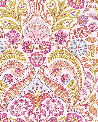 Emelie Pink Damask Wallpaper