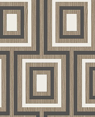 Loke Charcoal Wood Geometric Wallpaper