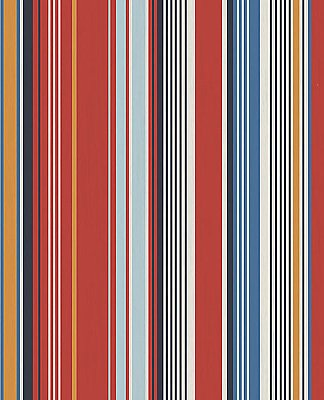Svea Red Stripe Wallpaper