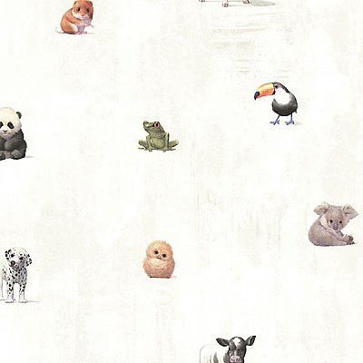 Tate Light Grey Animal Alphabet Wallpaper