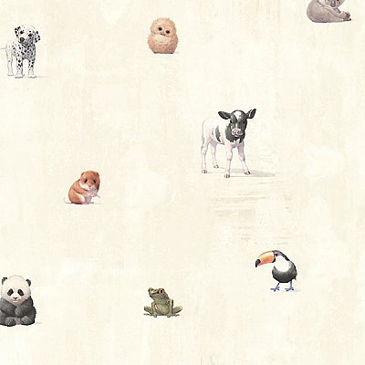 Tate Beige Animal Alphabet Wallpaper