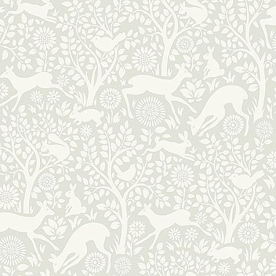 Anahi Light Grey Forest Fauna Wallpaper