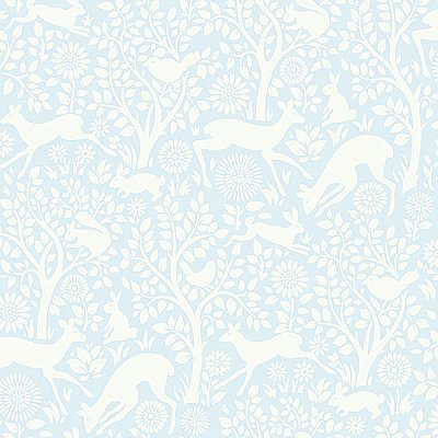 Anahi Light Blue Forest Fauna Wallpaper