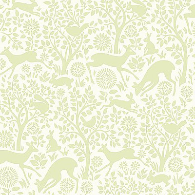 Anahi Light Green Forest Fauna Wallpaper