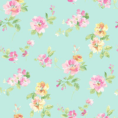 Captiva Aqua Floral Toss Wallpaper