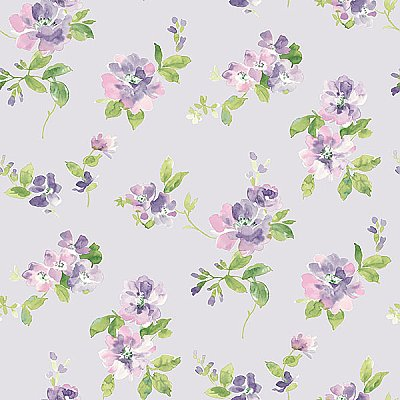 Captiva Lavender Floral Toss Wallpaper