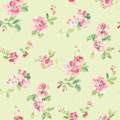 Captiva Mint Floral Toss Wallpaper