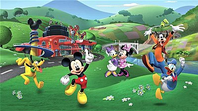 Roommates Decor Mickey and Friends Roadster Racer XL Chair Rail Prepasted Mural