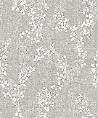 Twig Grey Botanical Wallpaper