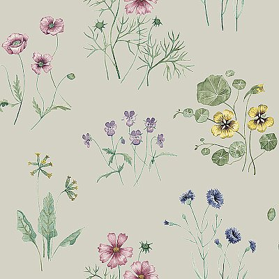 Maj Grey Wildflower Wallpaper