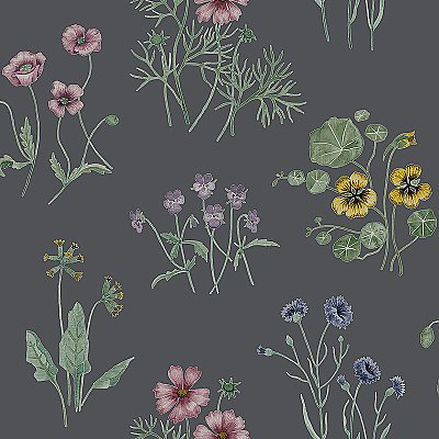 Maj Blue Wildflower Wallpaper
