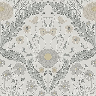 Marguerite Grey Damask Wallpaper