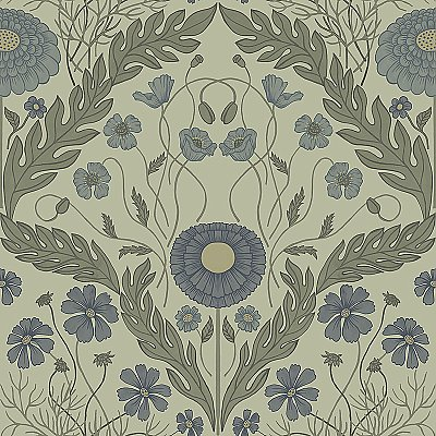 Marguerite Green Damask Wallpaper
