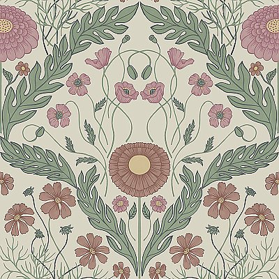 Marguerite Multicolor Damask Wallpaper