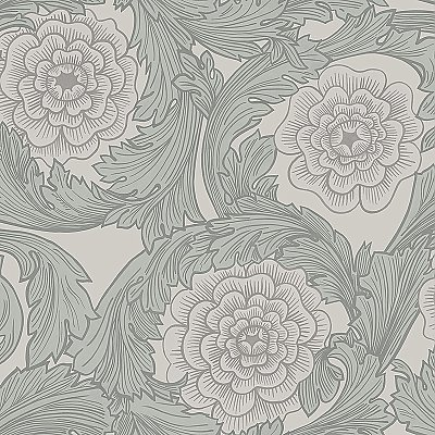 Rosa Grey Ornamental Florals Wallpaper