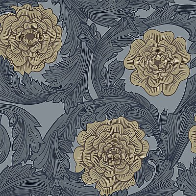 Rosa Blue Ornamental Florals Wallpaper