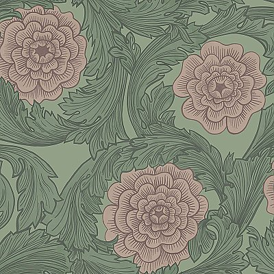 Rosa Green Ornamental Florals Wallpaper