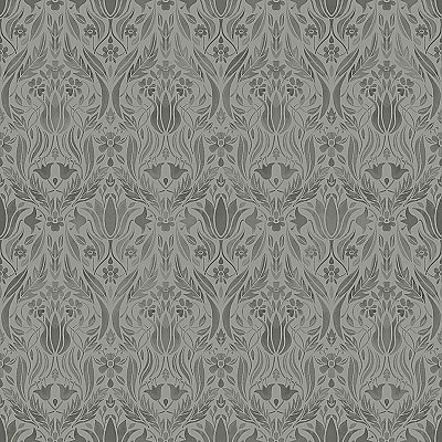 Ludvig Dark Grey Floral Ogee Wallpaper