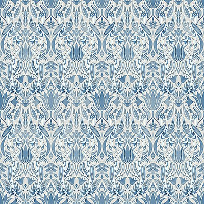 Ludvig Blue Floral Ogee Wallpaper