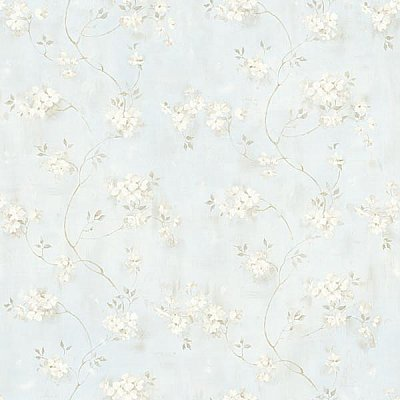 Rosemoor Blue Country Floral Wallpaper