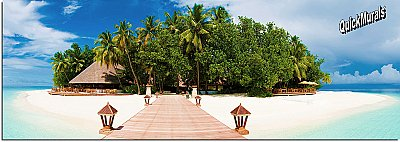 Mirihi Island Panoramic One-piece Peel & Stick Canvas Wall Mural