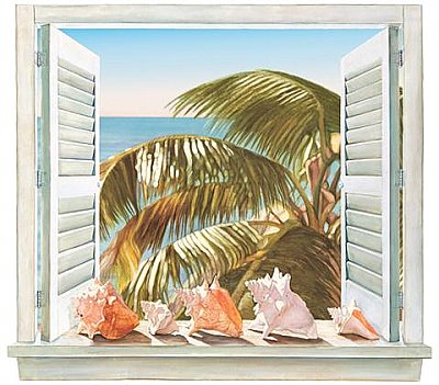 Palm Window Mural NT5863M MP4980M Hot Deal